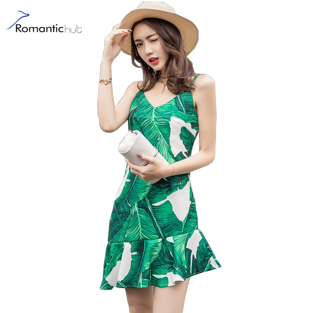 a1a9251938 2017 Sleeveless Spaghetti Strap Sexy Summer Dress Women Green Palm Leaf  Print Beach Dresses Asymmetrical Tropical Shift Dress