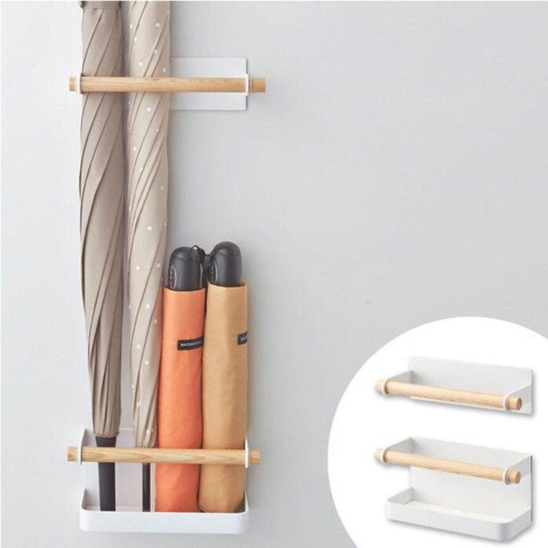 1 Set style nordique fer bois aimant supports de rangement mural pliant parapluie Stand maison stockage étagère salle de bains organisateur étagère