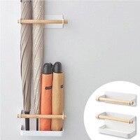 1Set Nordic style Iron Wood Magnet Storage Racks Wall Mounted Folding Umbrella Stand Home Storage Shelf Bathroom Organizer Shelf