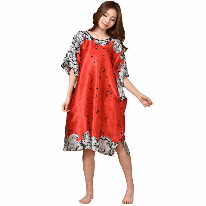 Sexy Coffee Female Silk Rayon Robe Bath Gown Nightgown Summer Casual Home Dress Printed Floral Sleepwear Plus Size