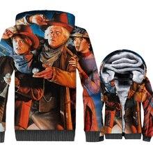 Back to The Future Jacket 3D Print Hoodie Men Hipster Hooded Sweatshirt Winter Thick Fleece Warm Zip up Coat movie Streetwear недорого