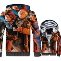 Back to The Future Jacket 3D Print Hoodie Men Hipster Hooded Sweatshirt Winter Thick Fleece Warm Zip up Coat movie Streetwear