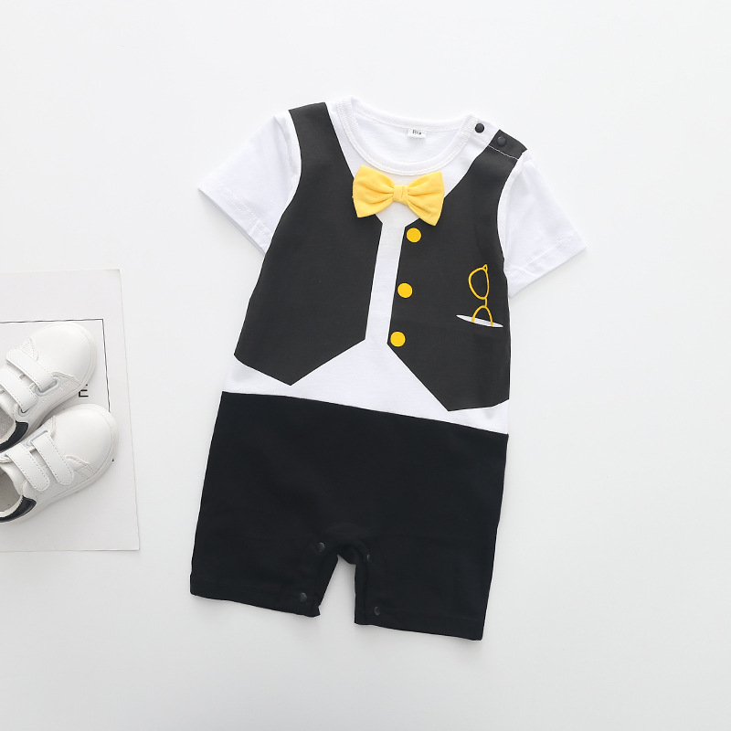 2017 New Baby Rompers Gentleman Tie Letter Print Newborn Toddler Jumpsuits ,0-2Y Kids Climb Clothes Short Sleeve Rompers
