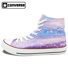 Custom Red-crowned Crane Grus Japonensis Bird Converse Chuck Taylor Design Hand Painted Shoes High Top Purple Sneakers Women Men