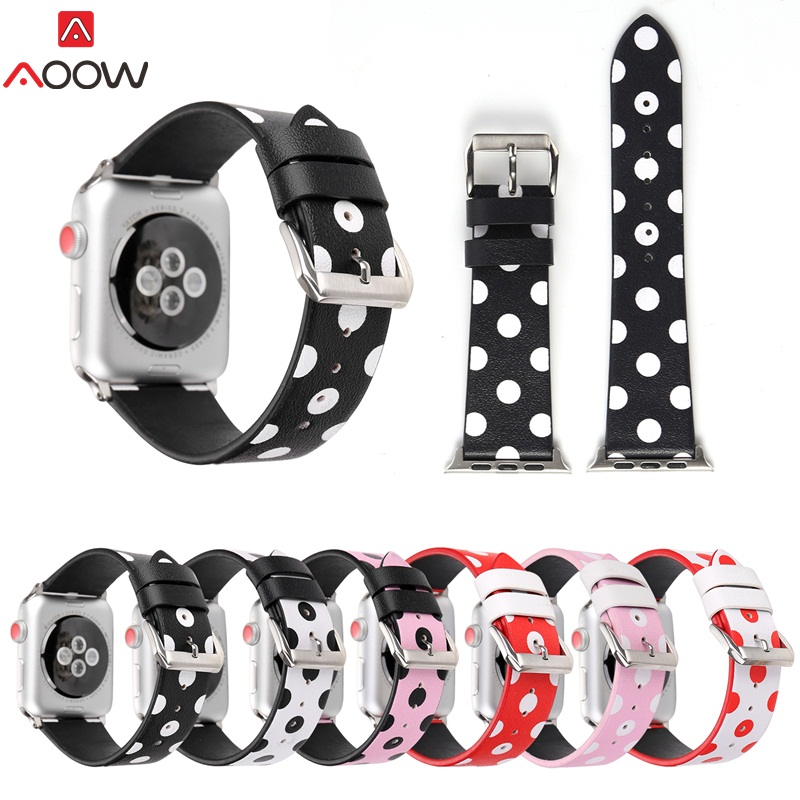 AOOW Genuine Watchband For Apple Watch 38mm 42mm Leather Polka Dots Print Vintage White Black Bracelet Strap for iwatch 1 2 3 through the looking glass explorers level 6
