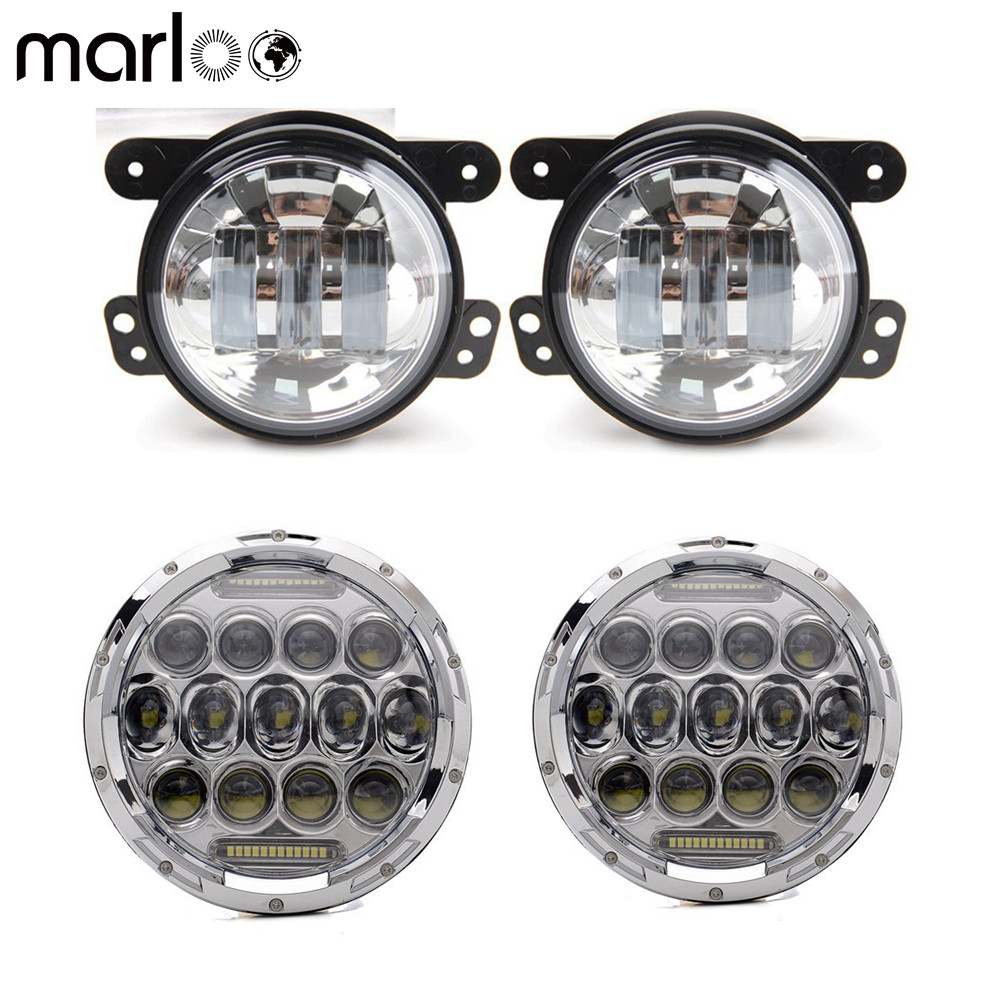 Marloo Wrangler Combo 7 H4 75W LED White DRL Hi/lo Beam Headlight With 4 inch LED Fog Light for Jeep Wrangler JK JKU 07-17 2pcs 7 inch 75w led round headlight offroad car lamp drl hi lo beam 2 x 4 led fog lights combo kit for jeep wrangler jk