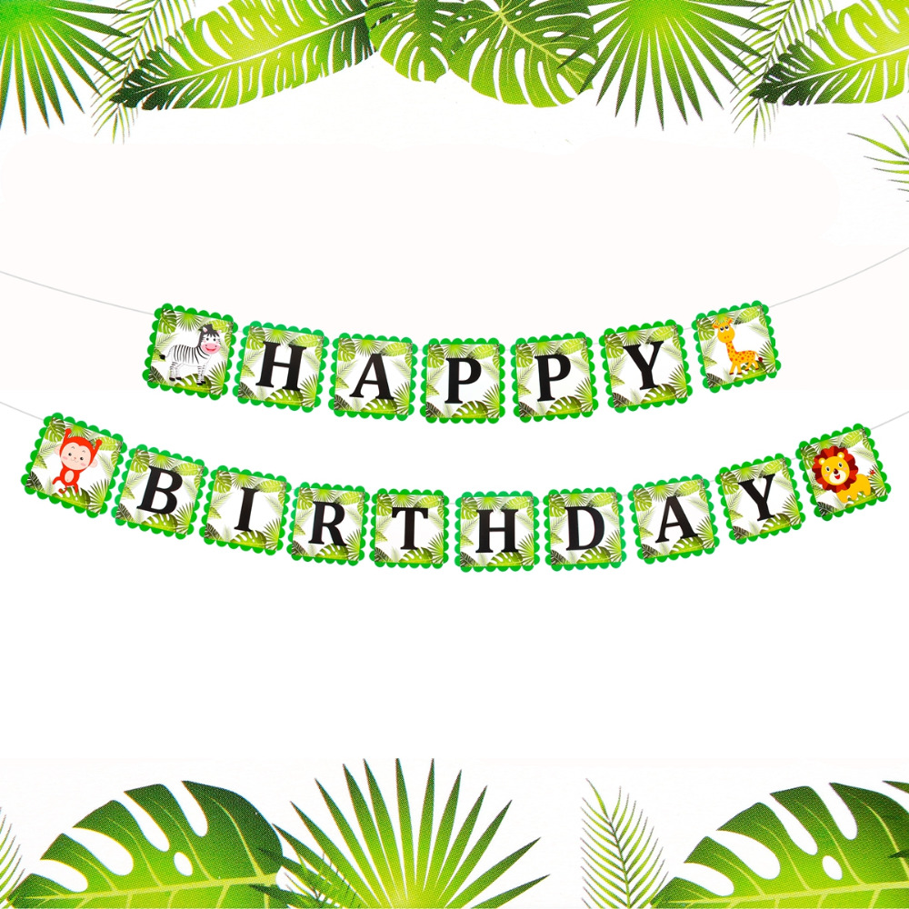 PATIMATE Animal 1st Birthday Flags Happy Birthday Banner Jungle Party Decorations Baby Birthday Decoration Baby Shower Decor in Banners Streamers Confetti from Home Garden