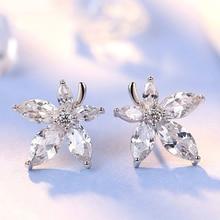 Maple Leaf Flower Silver Plated Stud Earrings Female Korean Simple Sweet Temper Ear Ornaments