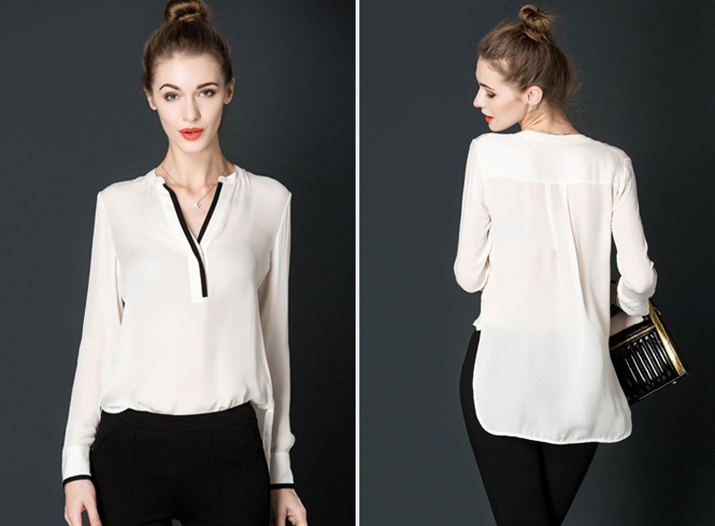dc6f98228476f6 Women Elegant White Blouse With Accessories Female Shirts Ladies Work Wear  Office Shirt New Fashion Long Sleeve Tops Women Chiff-in Blouses & Shirts  from ...