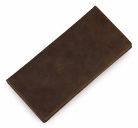 Vintage Nubuck Leather Long Wallet For Men Top Layer Cowhide Simple Bifold Bag Fashion Casual Long