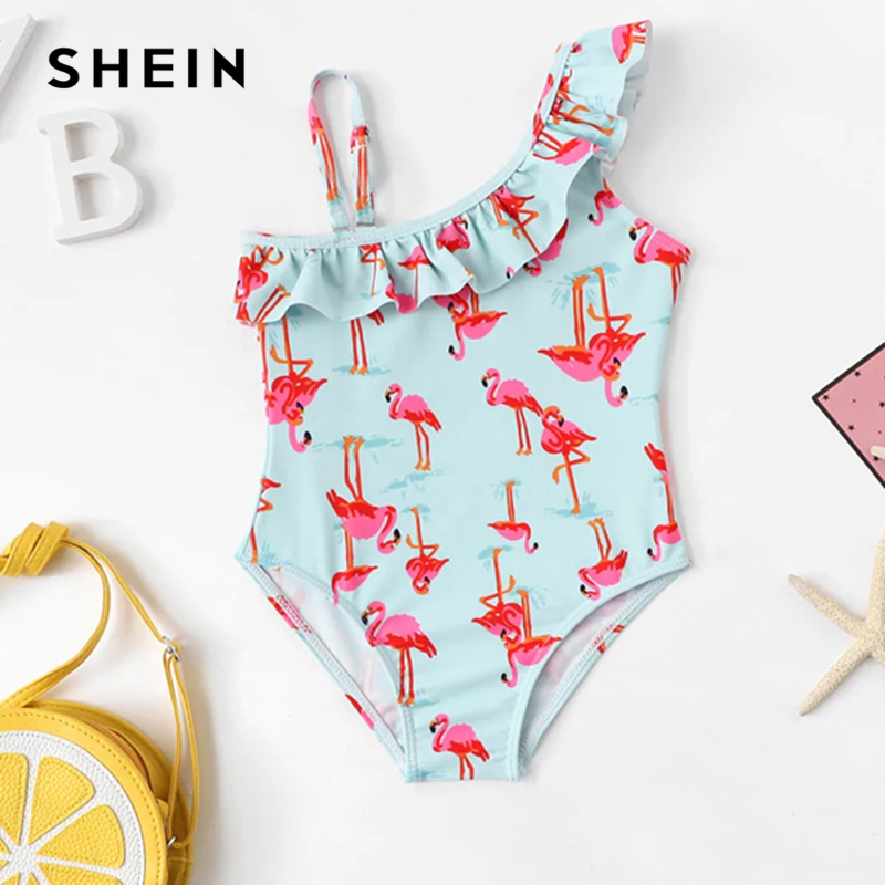 Фото - SHEIN Kiddie Toddle Girls Animal Print One Shoulder One Piece Swim Child 2019 Summer Sleeveless Kids Swim Wear Casual Bodysuits halter star print padded one piece swimsuit