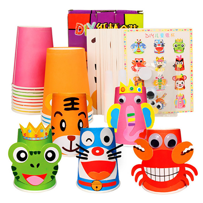 New Style 12 pack Handmade Paper Cup Painting Environmental Protection High-quality Material Children Handmade Puzzle DIY Toys