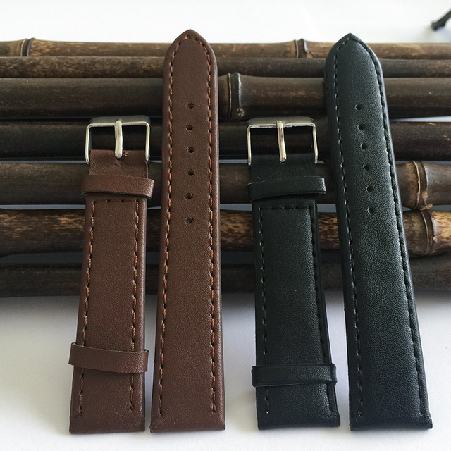 Watchband12mm to 20mm black Brown PU strap watch 2019 new fashion factory hot Smooth Buckle, watch band relogios masculinos J008