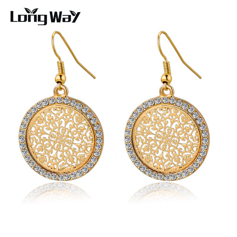 LongWay Vintage Big Round Flower Guldfarve Sølvfarvet Statement Drop Earrings For Women Crystal Wedding Øreringe SER140389