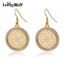 LongWay Vintage Big Round Flower Gold color Silver color Statement Drop Earrings For Women Crystal Wedding Earrings SER140389