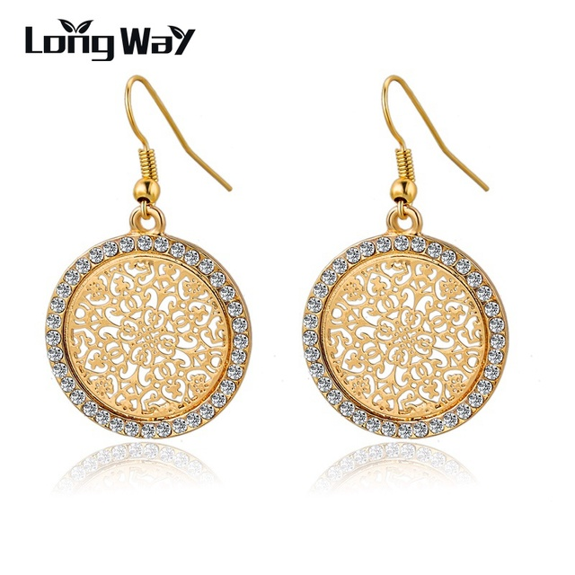 Longway Vintage Round Flower Gold Color Silver Statement Drop Earrings For Women Crystal Wedding