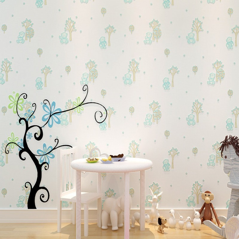 Free Shipping Non Woven Wallpaper Cartoon Cubs Warm Bedroom Children Room High Quality Kitchen In Wallpapers From Home Improvement On