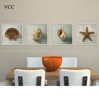 4 Peças/set Shell Pintura Imagem da Lona Arte Da Parede, Pinturas Modernas Na Parede Pictures Para Sala de estar, Casa decoração