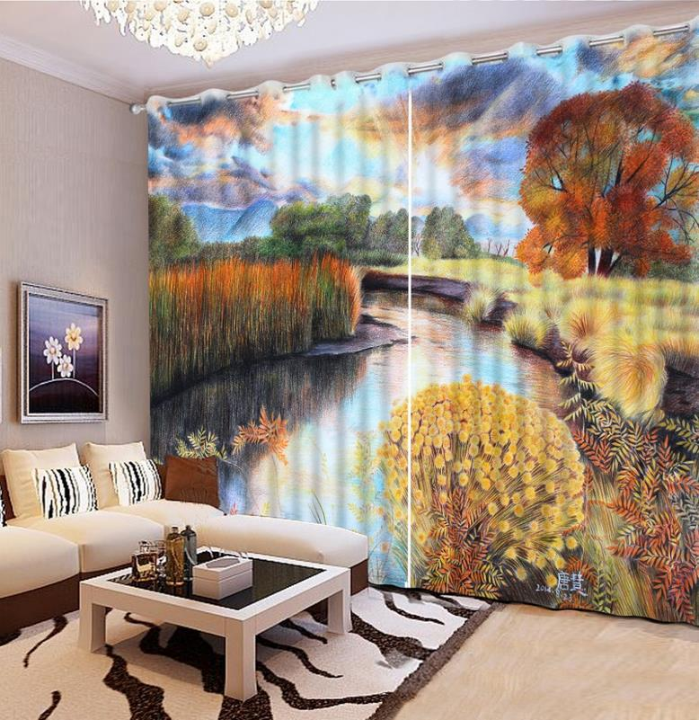 European Printing Curtains oil landscape Bedroom Curtains Blackout Window Curtain Living Room Modern Curtains For The Kitchen European Printing Curtains oil landscape Bedroom Curtains Blackout Window Curtain Living Room Modern Curtains For The Kitchen