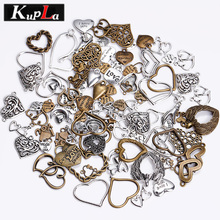 Vintage Metal Mixed Love Hearts Charms for Jewelry Making Fashion Diy Handmade Retro Pendant Charms 100pcs/lot