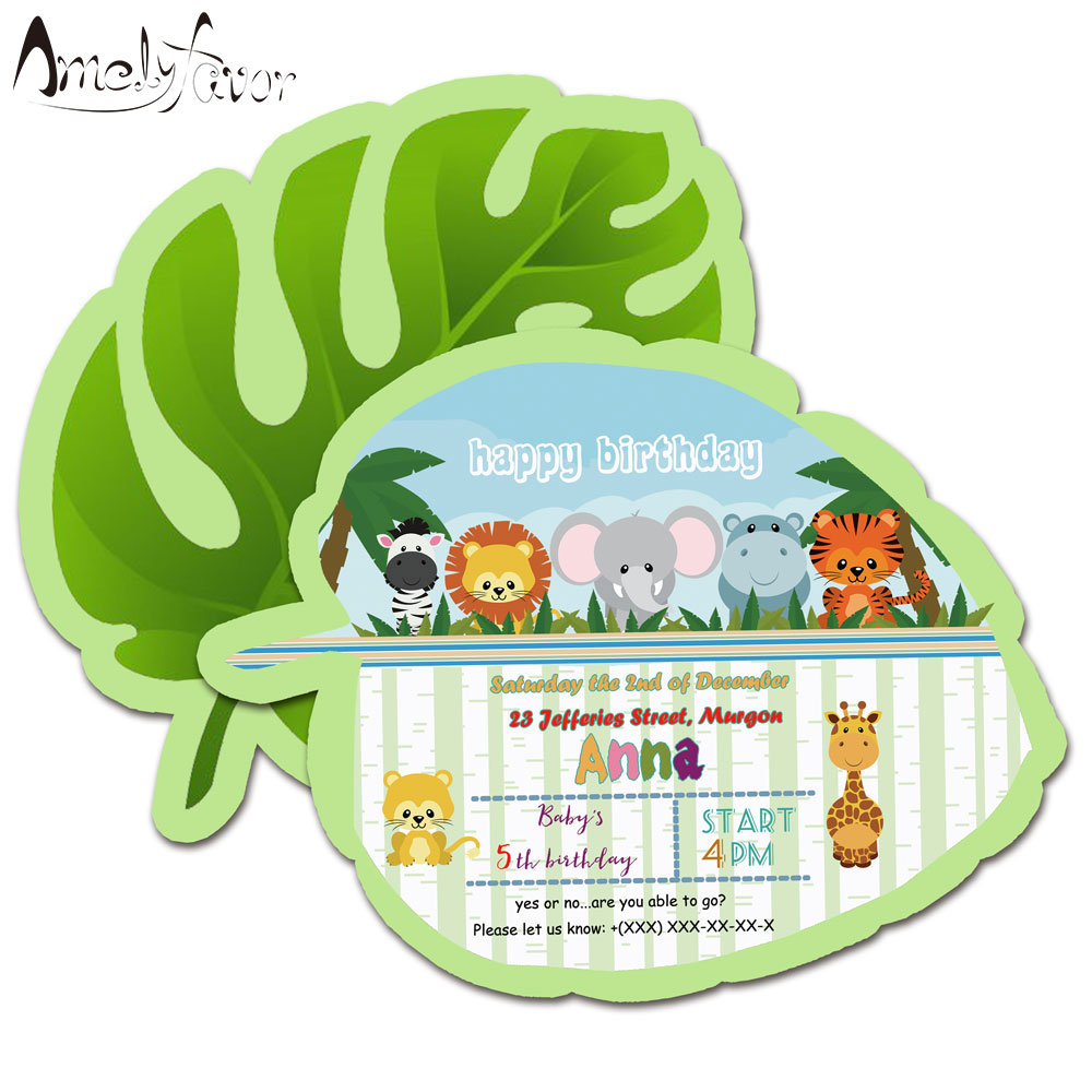 Us 6 65 26 Off Safari Animals Theme Invitations Card Birthday Party Supplies Birthday Party Decorations Kids Event Birthday Invitation In Cards