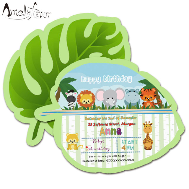 Safari Animals Theme Invitations Card Birthday Party Supplies