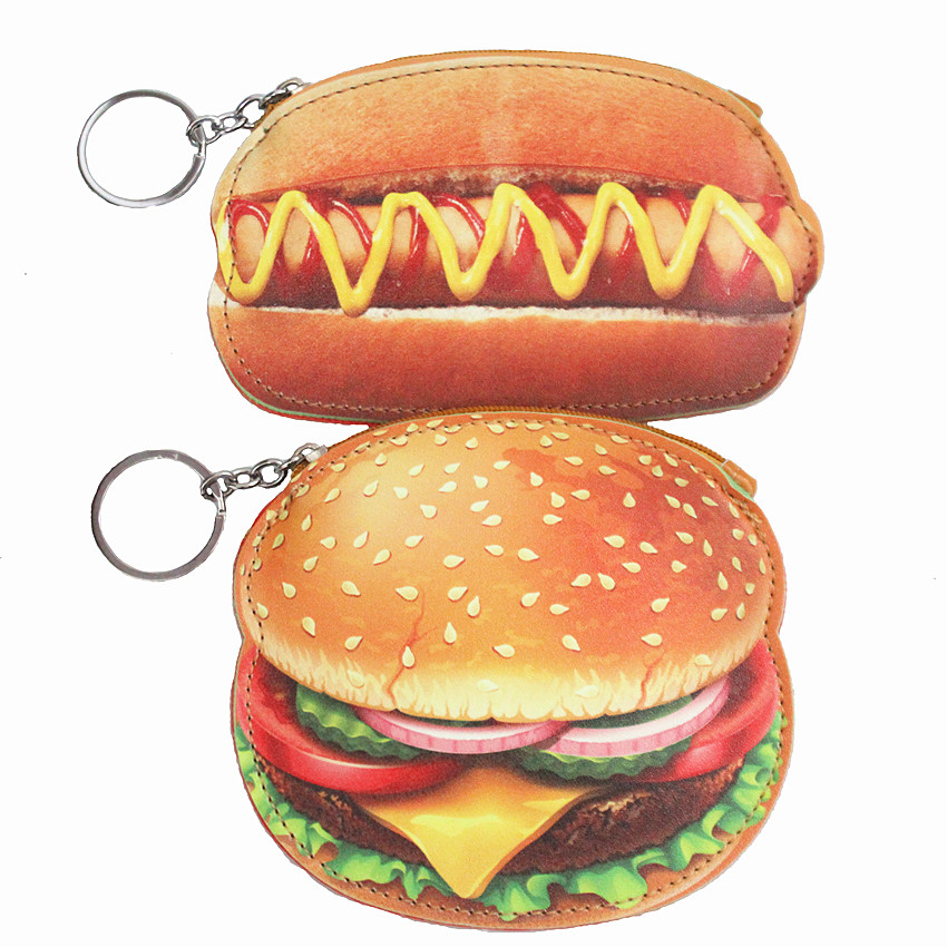 M079  Coin Purses Cute Hamburger PU Leather Lovely Food Card Bag Key Buckle Wallet Wholesale