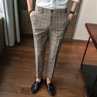 new men's slim straight suit pants, Korean fashion business casual pants,personalized striped plaid print fashion men's trousers