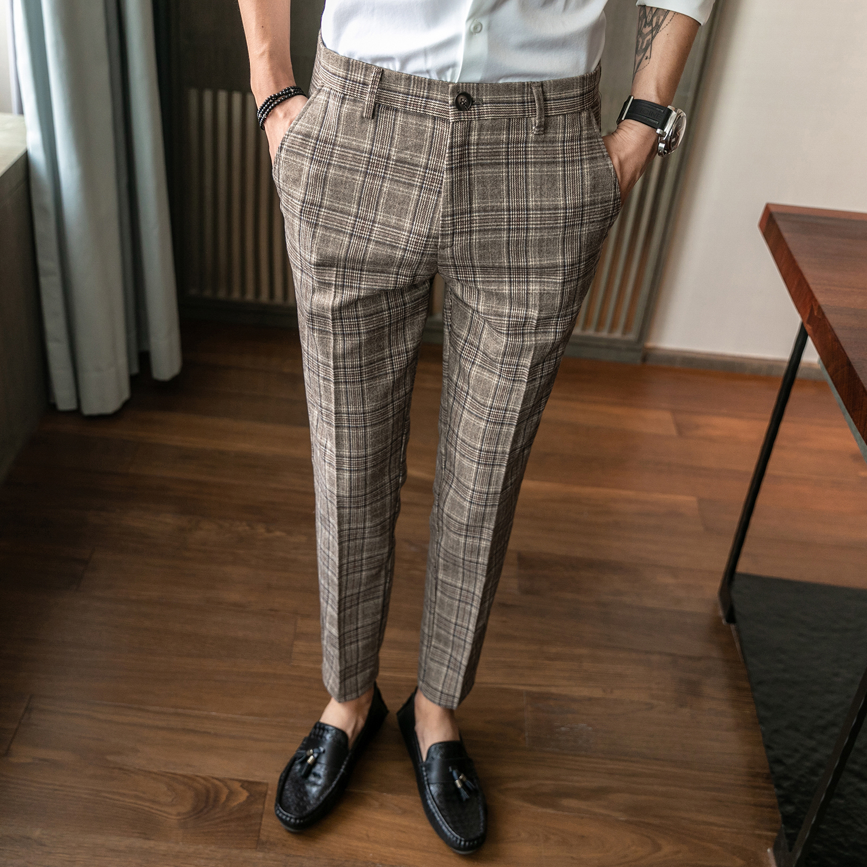 New Men's Slim Straight Suit Pants, Korean Fashion Business Casual Pants,personalized Striped Plaid Print Fashion Men's Trousers