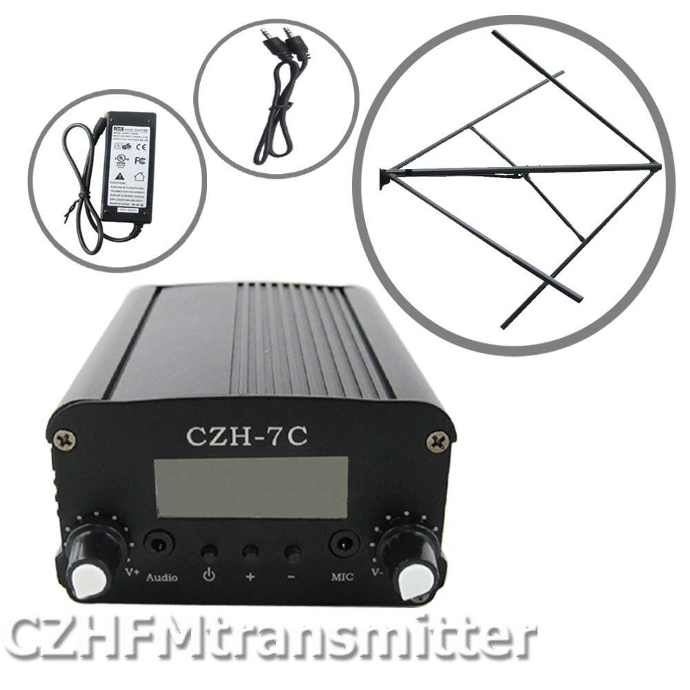CZH CZE-7C7W FM stéréo émetteur de diffusion PLL offre spéciale 76-108 MHZ + kit d'antenne FM polarisé circulairement
