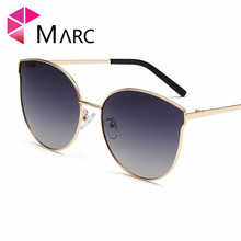 MARC 2019 Women glasses Colorful Cat Eye Alloy Wrap Gradient Glasses Metal Gold Pesonality Pink Purple 1
