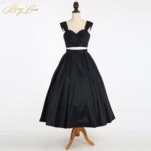 Image 4 - Simple Knee Length Homecoming Dress 2020 Two Pieces Navy Satin Homecoming Gown Prom Dress Graduation Dress vestido de formatura