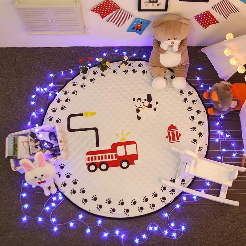 Baby Fox & Animals Round Kids Room Carpet