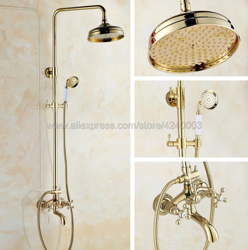 Luxury Gold Color Brass 8 inch Shower Head Bathroom Shower Faucet Sets Double Handles Mixer Tap with Tub Spout Kgf451