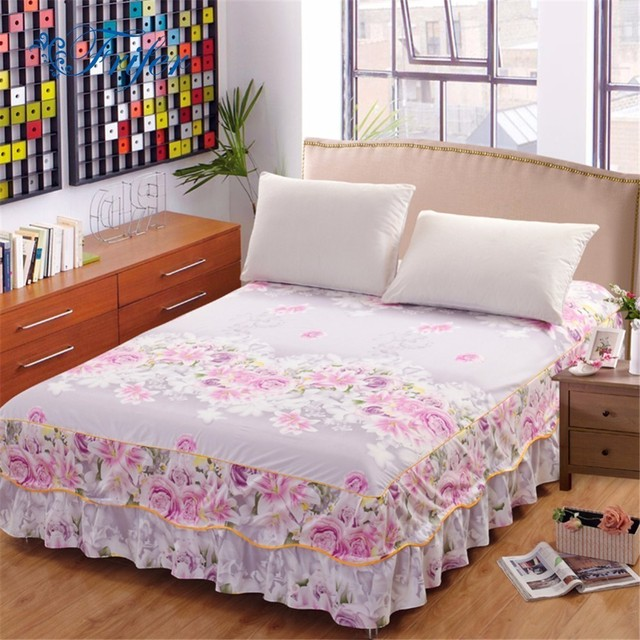 2018 bed skirt high quality polyester purple white flower bedding 2018 bed skirt high quality polyester purple white flower bedding bed skirt bed cover bedspread pastoral mightylinksfo