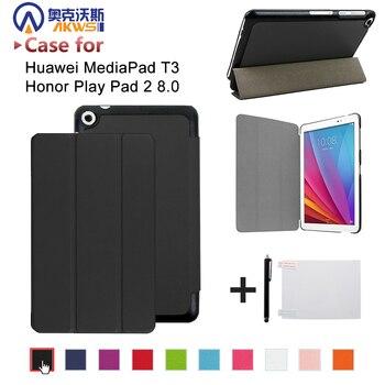 עור PU folio stand case כיסוי עבור Huawei MediaPad T3 8.0 KOB-L09 KOB-W09 עבור 8 ''Tablet PC לכבוד לשחק Pad 2 8.0