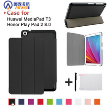 PU leather folio stand cover case voor Huawei MediaPad T3 8.0 KOB-L09 KOB-W09 voor 8 ''Tablet PC voor Honor spelen Pad 2 8.0(China)