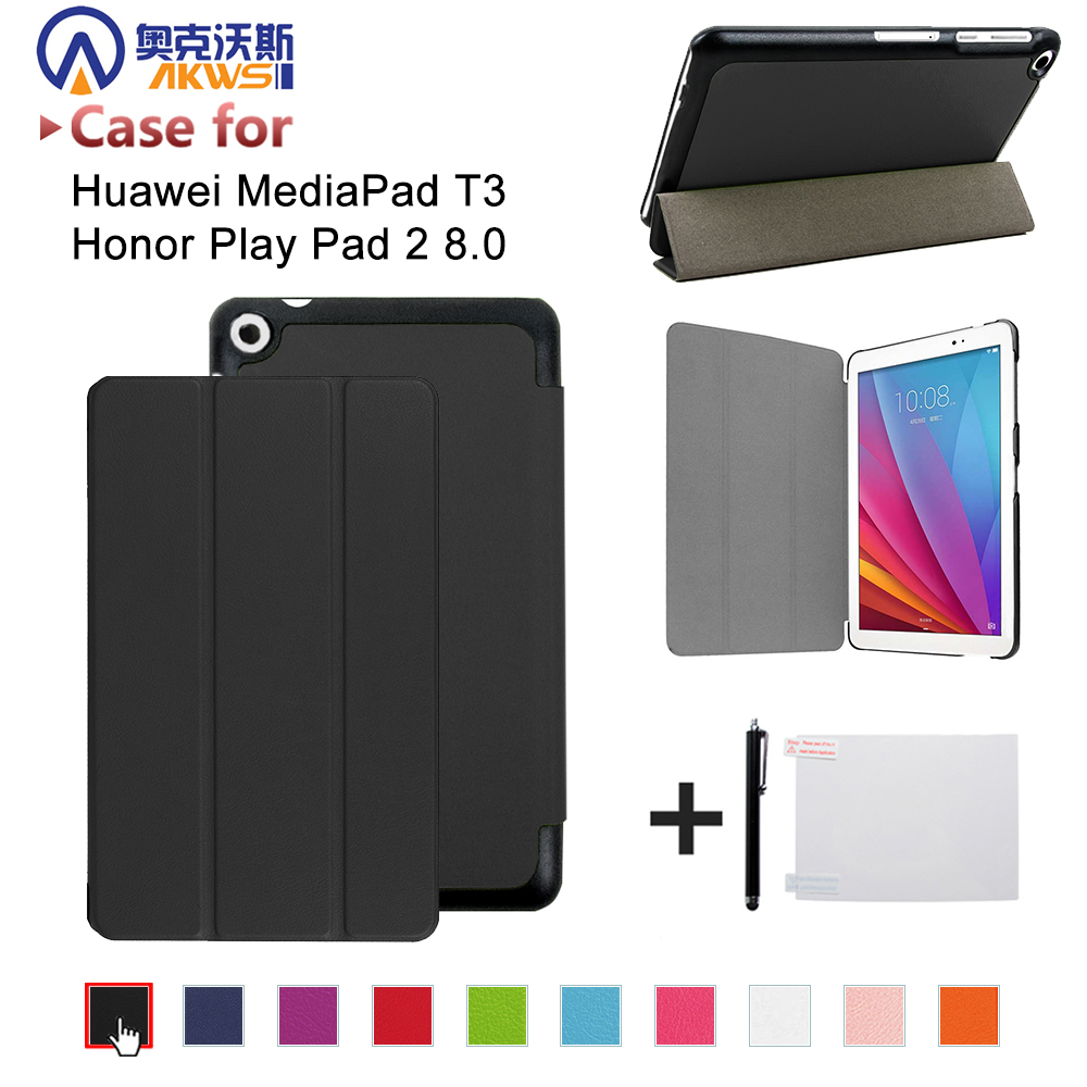 PU leather folio stand cover <font><b>case</b></font> for <font><b>Huawei</b></font> MediaPad <font><b>T3</b></font> <font><b>8</b></font>.0 KOB-L09 KOB-W09 for <font><b>8</b></font>'' Tablet PC for Honor Play Pad 2 <font><b>8</b></font>.0 image