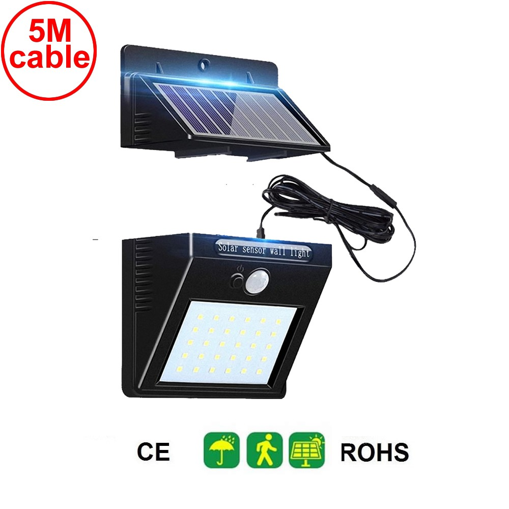 30 Led 500lm Solar Light Split Mount PIR Motion Sensor 5M Wire Cord Smart Indoor Street Wall Lamp Spot Floodlight For Garden New