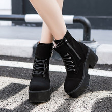 YMECHIC 2018 Flock Black Lace Up Goth Boots Female Buckle Strap Cross Tied Gothic Punk Rock Ankle Motorcycle Boots Ladies Shoes(China)