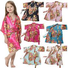Пижамы для маленьких девочек; детская шелковая хлопковая одежда для сна с цветочным принтом; размеры 4-14T