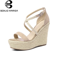 BONJOMARISA Kid Suede Genuine Leather Wedges High Heel Woman Shoes Cross Strap Solid Party Women Shoes
