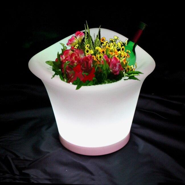 Macetero redondo ligero 2017 con lámpara de cubo de hielo led RGBW con Control remoto macetas de flores brillantes LED RGBW plantador 2 unids/lote