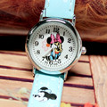 2016 Wholesale 300 Pieces/Lot Minie Leather Children Watches Girls Lovely Hot Style Fashion Cartoon Quartz Wristwatches For Kid