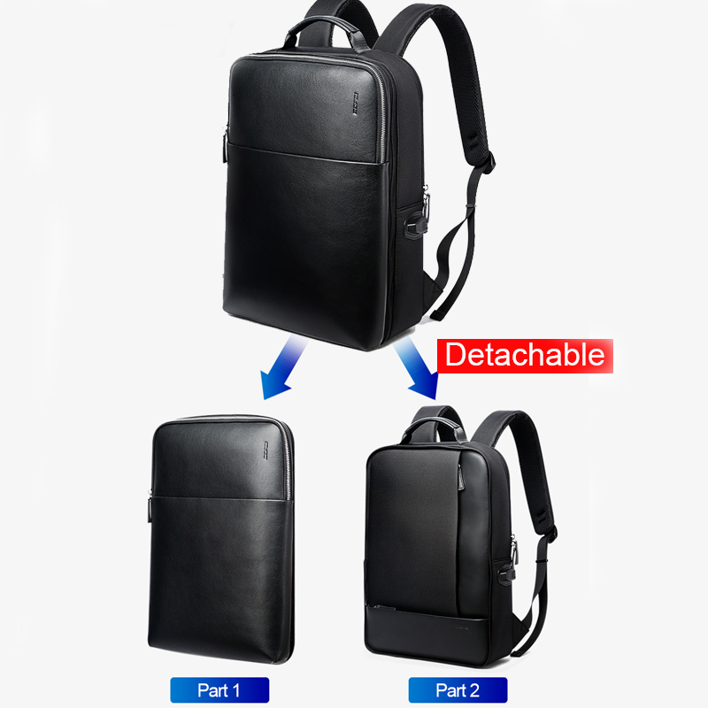 BOPAI Detachable 2 in 1 Laptop Backpack USB External Charge Shoulders Anti theft Backpack Waterproof Backpack Men for 15.6 inch - 2