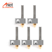 Anet 15 stks/pak 0.4mm Messing Nozzle Extruder Printkop + Blok Hotend + 1.75mm Keel Buizen Buizen voor anet A8 A6(China)
