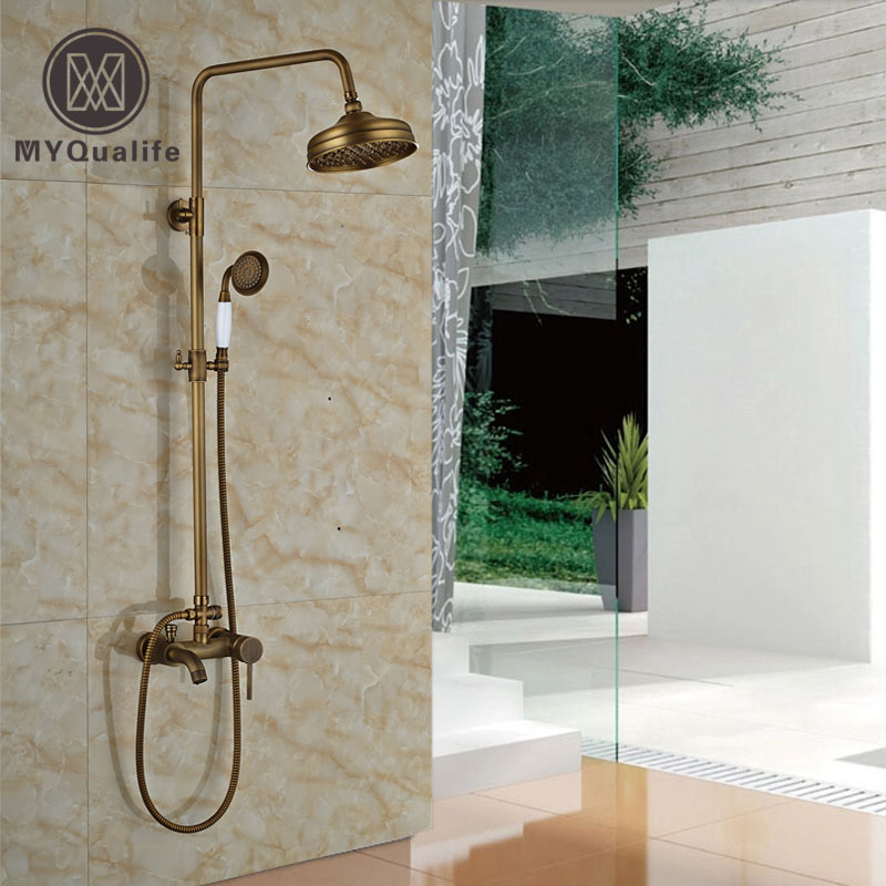 Wall Mount Exposed Brass Rainfall Shower Faucet Set Single
