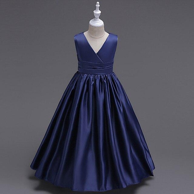 fd30829e33e719 2-14y Dunkelblau Prinzessin Mädchen Prom Kleid kinder Abschlussfeier  Teenager Kleid Kleidung V-ausschnitt