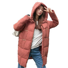 2b613054e2c Stylish Woman Hooded Puffer Parkas Winter Puff Jackets Woman Red Black Hood Basic  Coat Quilted Overcoats
