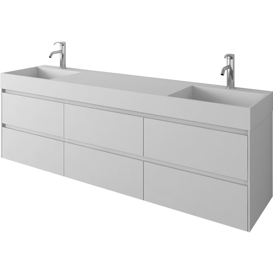1800mm Bathroom Furniture Wall Mounted Vanity Stone Solid Surface Blum 6 Drawers Cloakroom Wall Hung Cabinet  2226